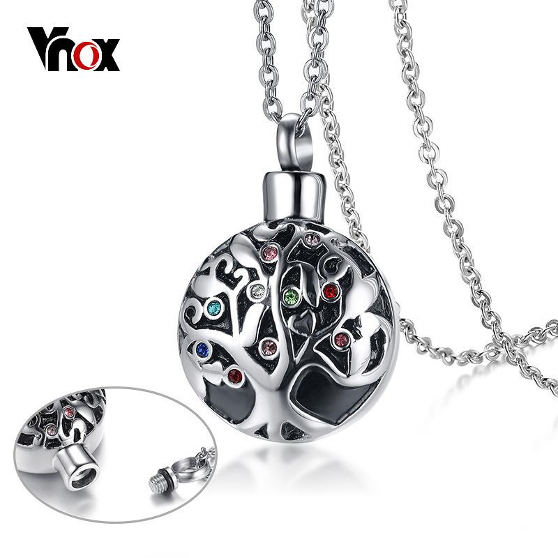 Vnox CZ Stones Life Tree Hollow Pedant For Women Necklace Stainless Steel Cremation Ashes Urn Holder Female Jewelry 20 ChainVnox CZ Stones Life Tree Hollow Pedant For Women Necklace Stainless Steel Cremation Ashes Urn Holder Female Jewelry 20 Chain