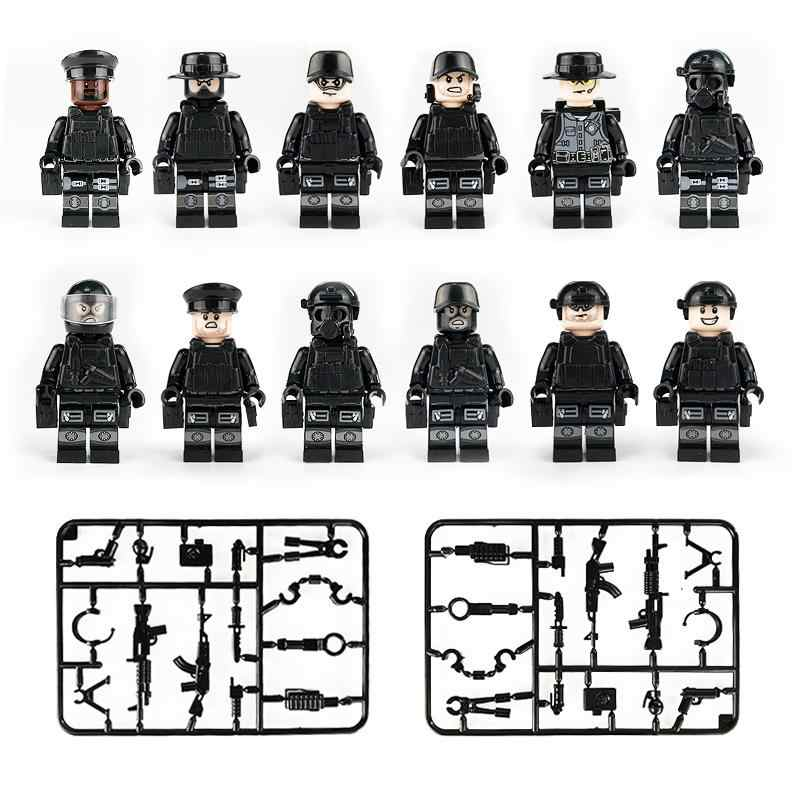 """12 шт./компл. военные Солдатики """"Special Forces"""" кирпичики фигурки-пистолеты Книги об оружии Совместимость вооруженных SWAT строительные кубики, детские игрушки"""