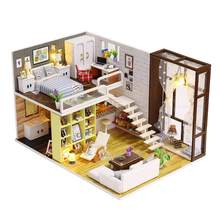 21 styles Diy Puzzle Toy Doll House Model Wooden Furniture Building Blocks Toys DIY Dollhouse Kit Handicraft Kids Birthday Gift(China)