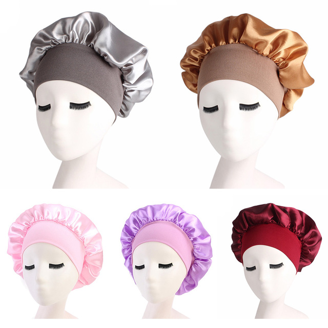 Kadın Saten Düz Geniş kenarlı Uyku Şapka Gece Uyku Kap Saç Bakımı Bonnet Nightcap Kadın Erkek Unisex kap bonnet de nuit