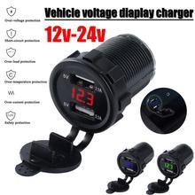 Car Motorcycle DC 12V/24V Dual Port Car USB Charger Voltmeter 4.2A Power Outlet For Ipad Iphone Car Boat Mobile Phones Led Light все цены