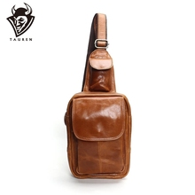 Mens Fashion Chest Bags Retro 100% Genuine Leather Travel Bag Shoulder Messenger Harness Pocket