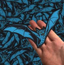 Embroidered Teal Bat Patch 7.5
