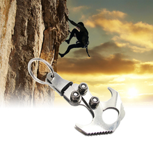 Stainless Steel Foldable Grappling Hook Key Chain Outdoor Climbing Claws Accessories Gravity Hook Car Traction Rescue EDC outad outdoor stainless steel gravity hook carabiner key chain magnet foldable grappling climbing claw car camping edc tool