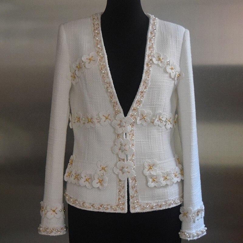 Taille Plus Femme Patchwork À Mode Vestes 2018 Longues La White Manches Coat Femelle Manteau Femmes Pour Perles Vêtements Laine Automne Q941 1qxg0q