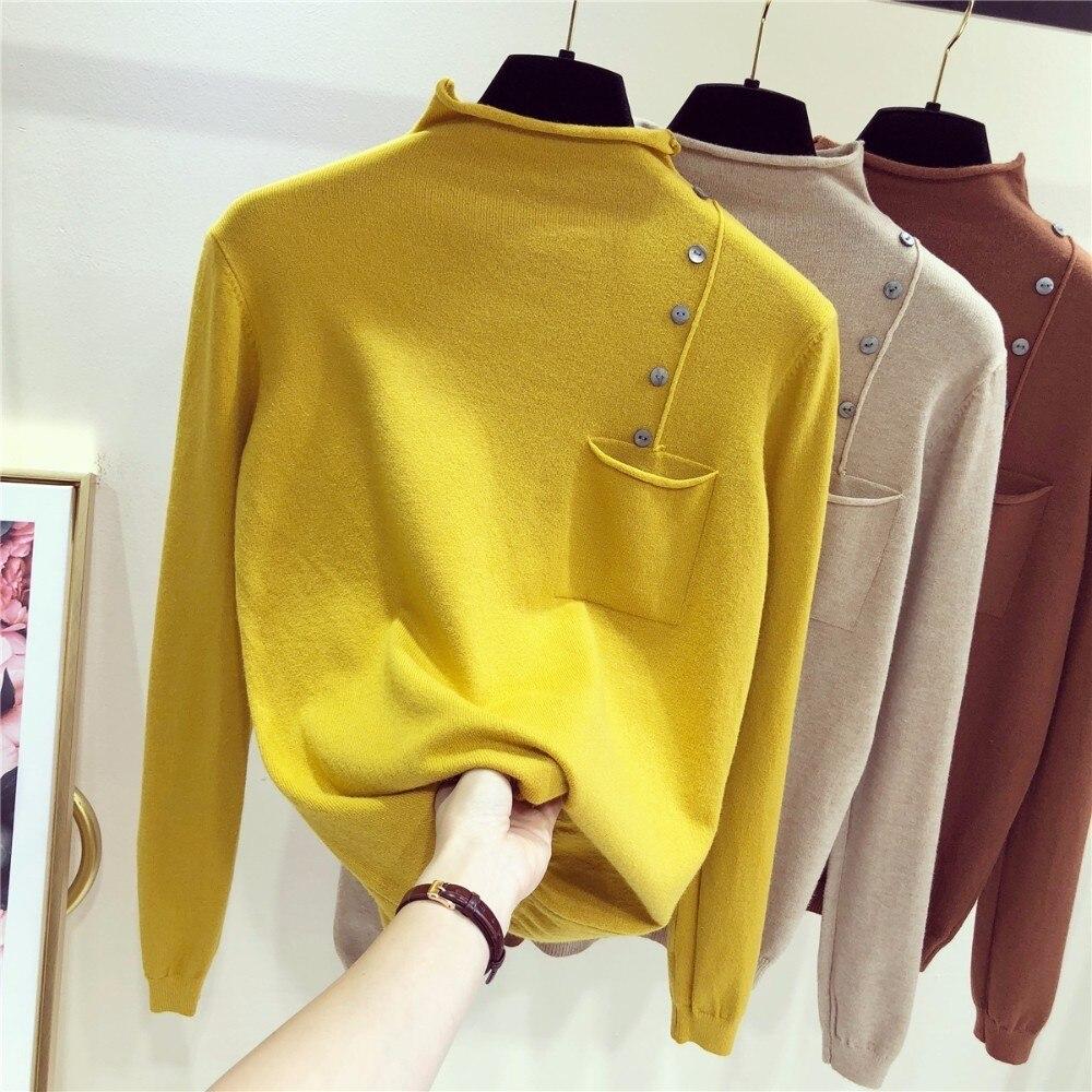 Женская вязаная Водолазка с длинным рукавом, облегающий свитер с коротким рукавом, 5 цветов, 2019