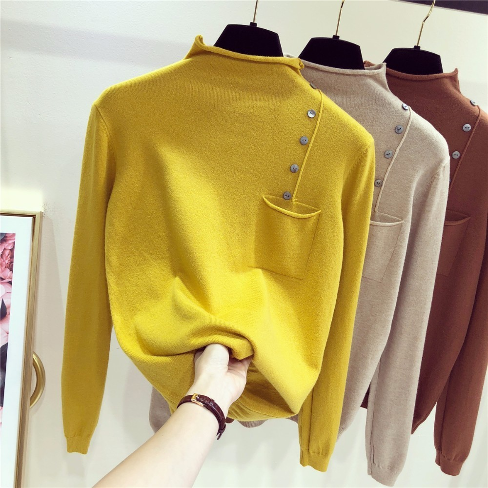 Half Turtleneck Long Sleeve Knitted Sweater Women Tops Slim Short Sleeve 5colors 2019 New Arrivals