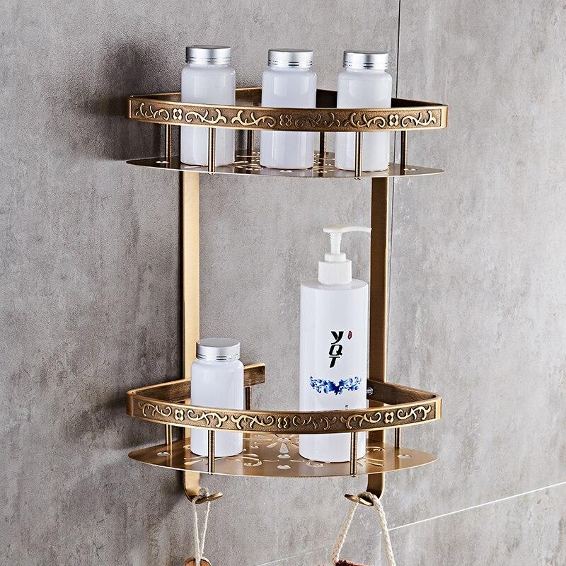 Полка для ванной комнаты Античная алюминиевая двухслойная угловая полка для ванной комнаты держатель для ванной комнаты корзина для душа аксессуары для ванной комнаты|Полки для ванной|   | АлиЭкспресс