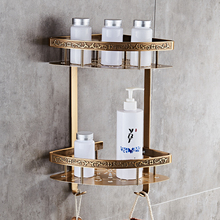 Badkamer plank antieke aluminium dubbele laag badkamer hoekplank badkamer houder showeroom mand badkamer accessoires