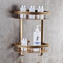Prateleira do banheiro, prateleira do banheiro de alumínio antigo da camada dupla do banheiro, suporte de canto, chuveiro cesta do banheiro acessórios