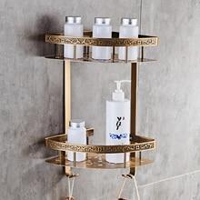 욕실 선반 골동품 알루미늄 더블 레이어 욕실 코너 선반 욕실 홀더 showeroom 바구니 욕실 액세서리