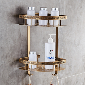 Image 1 - 浴室の棚アンティークアルミ二重層浴室コーナー棚浴室ホルダー showeroom バスケット浴室付属品