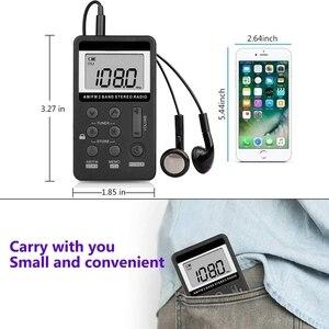 Image 3 - Radio de bolsillo portátil AM FM, Mini estéreo Digital Tuning con batería recargable y auricular para caminar/trotar/gimnasio/Camping