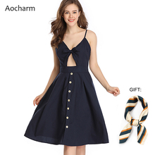 Aocharm Dresses Summer 2019 Tie Front Sexy Backless V-neck Buttons Midi Dress Casual Sleeveless Beach Female Vestidos
