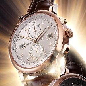 Image 3 - 스위스 LOBINNI 남자 시계 럭셔리 브랜드 자동 기계 남자 Wirstwatches 사파이어 가죽 Tracymeter relogio L16001 2
