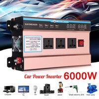 Напряжение трансформатор P ЕАК 6000 Вт автомобиль солнечной Мощность инвертор DC 12/24 V к AC 220 V синусоида USB конвертер Модифицированная синусоида