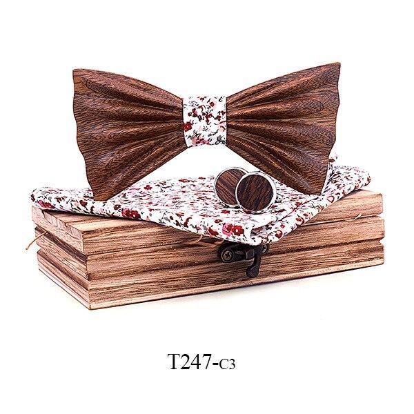 Для мужчин ручной работы 3D принт черный орех качество галстук-бабочка джентльмен элегантные запонки квадратный Полотенца установить флажо...