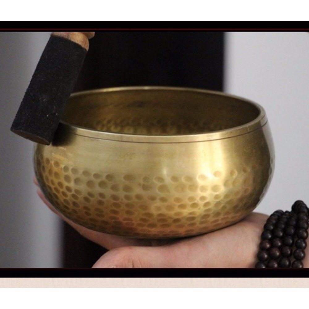 2019 Copper Crafted Gilt Yoga Singing Bowl Buddhism Tibetan Chakra Meditation Yoga