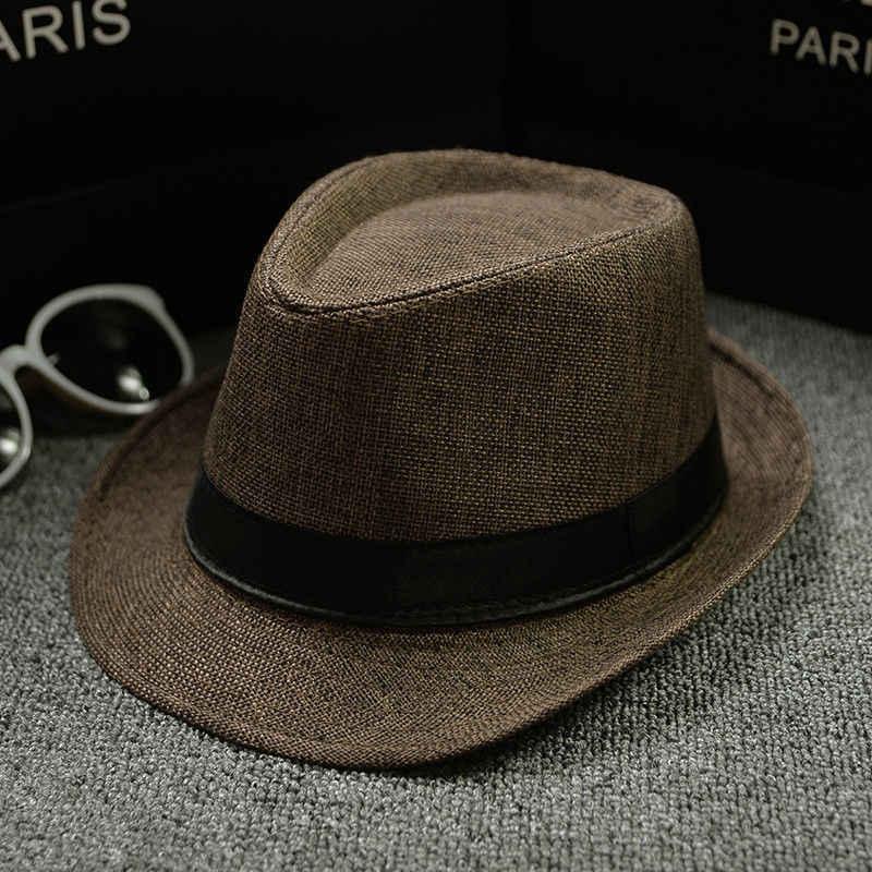 2019 جديد أزياء الرجال فيدورا المرأة أزياء الجاز قبعة الصيف الربيع الأسود قبعة من القش في الهواء الطلق عارضة قبعة