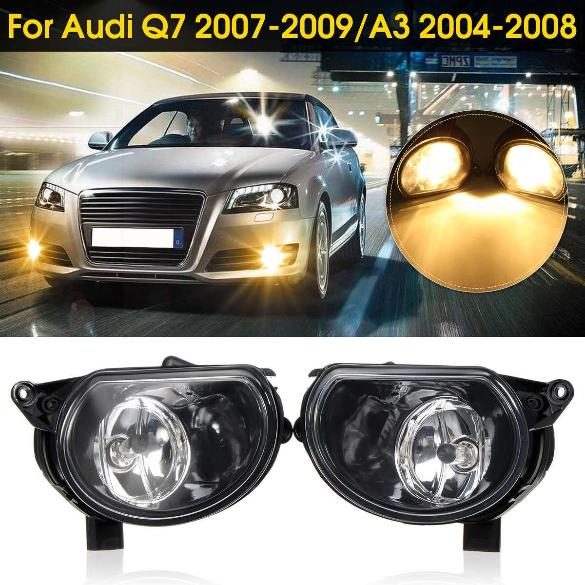 Pair Front Bumper Halogen Clean Fog Lamps Foglights For
