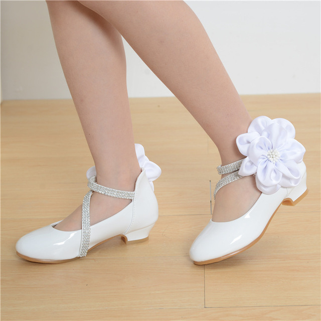 Toddler Girl PU Leather Rhinestone Studded Big Flower Flats Little Kid Low Heel Pumps Children Pageant Wedding Dress Shoes