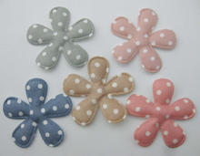 PANVEO 100pcs printed dots satin fabric 4cm padded flower appliques hairclip DIY crafts decoration
