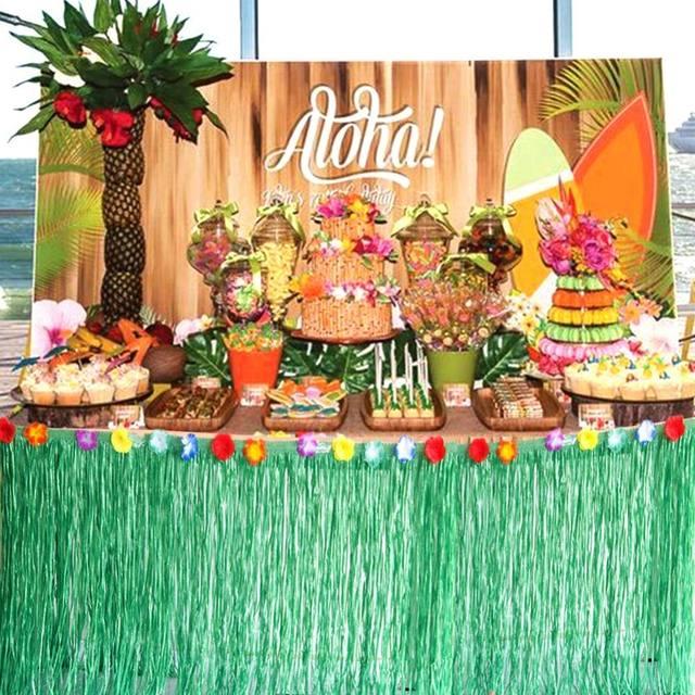 Hawaiian Party Tropical Decoration Table Skirt