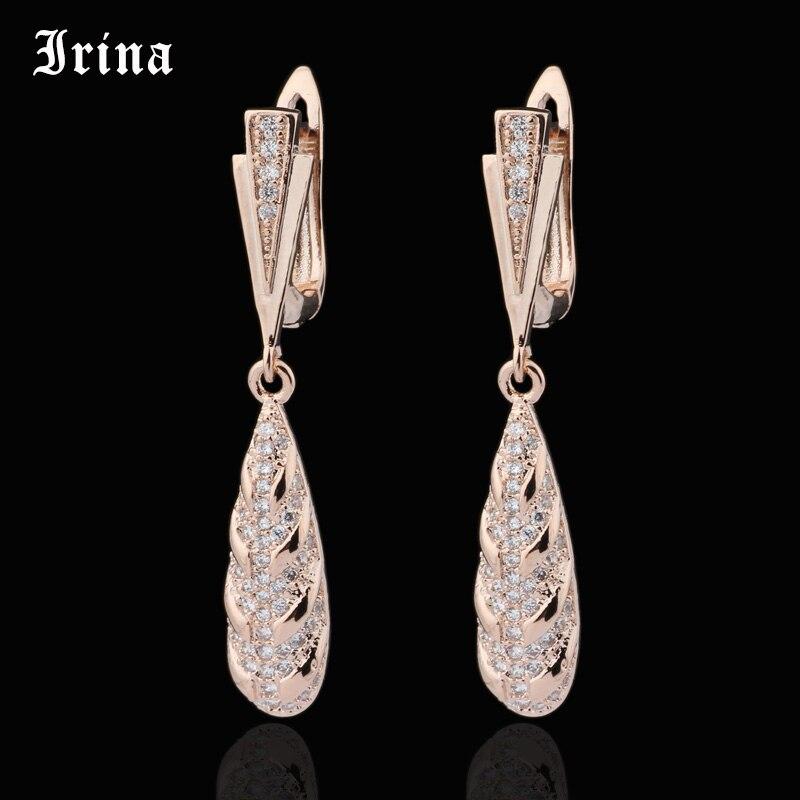 Irina 585 Elegant AAA Cubic Zirconia Water Drop Dangle Earrings For Bridal Rose Gold Color Micro insert Romantic Dangle Earrings