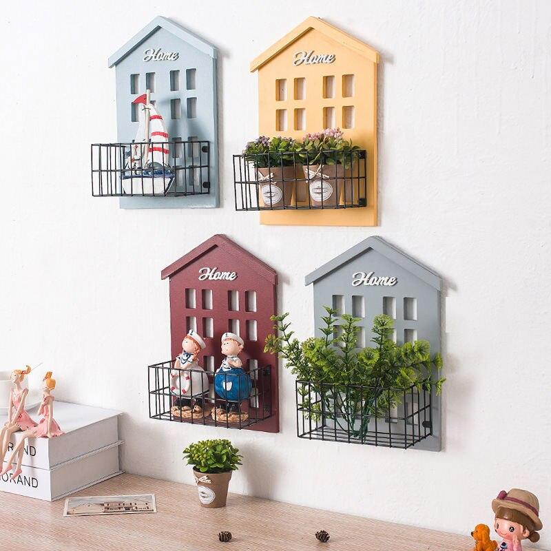 Wood House Iron Wall Hanging Basket Storage Holder Shelf Display Board Vintage Home Bedroom Kids Room Wall Decorations 22*9*31cm