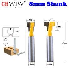 CHWJW 2 шт. 8 мм хвостовик Т-шлицевая фреза Маршрутизатор бит для 1/4 «шестигранный болт 9,52, 12,7 мм Диаметр дереворежущий инструмент