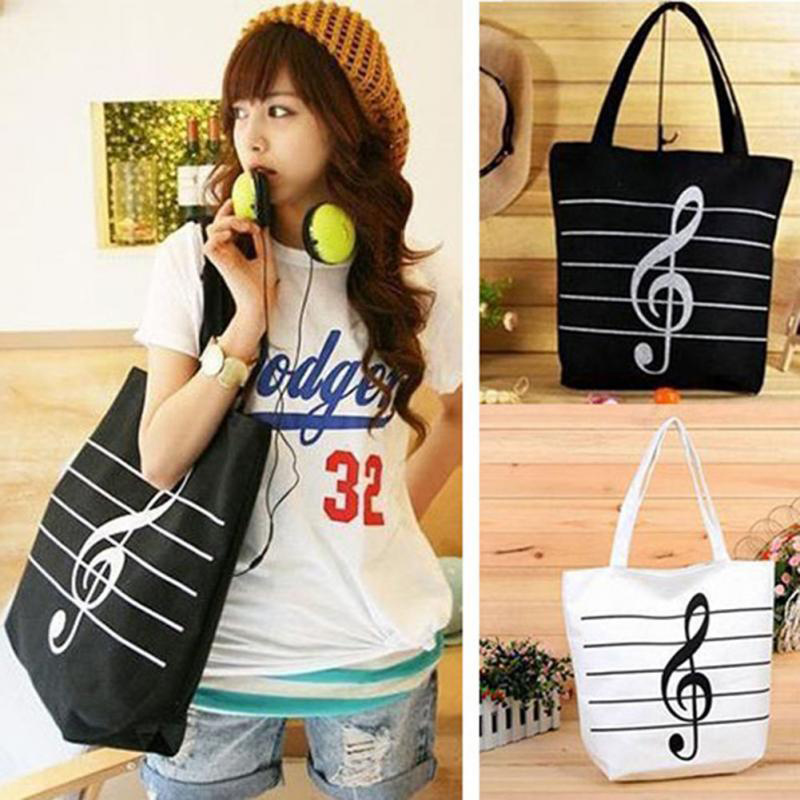 New 2019 Women Girl Fashion Cute Portable Canves Eco Cloth Large Capacity Musical Symbol Form Handbags Big Note Shoulder Bags