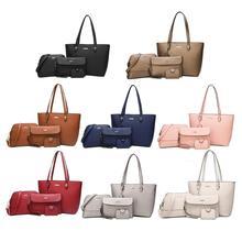 4pcs/set Shoulder Handbags Clutch Women Crossbody Bags Solid Color Design Card