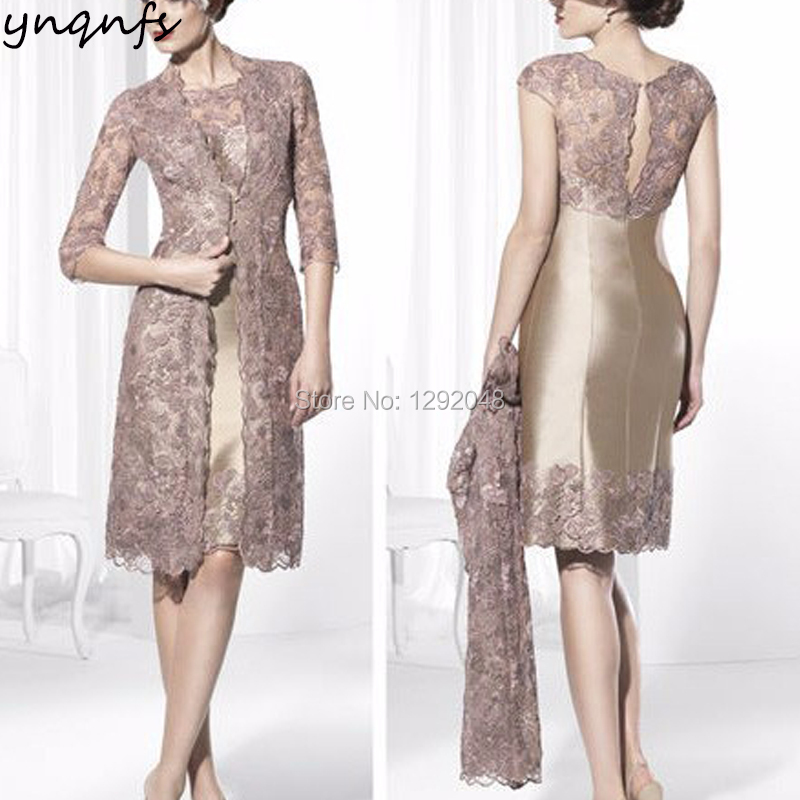 YNQNFS M92 Sheat Satin Two Piece Mother of the Bride Gown with Lace Jacket Groom Outfits Champagne Wedding Party Guest Dress
