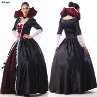 Female Vampire Zombie Costume Halloween Ghost Bride Masquerade Party Costumes Dress Women Witch Queen Halloween Cosplay Xnxee