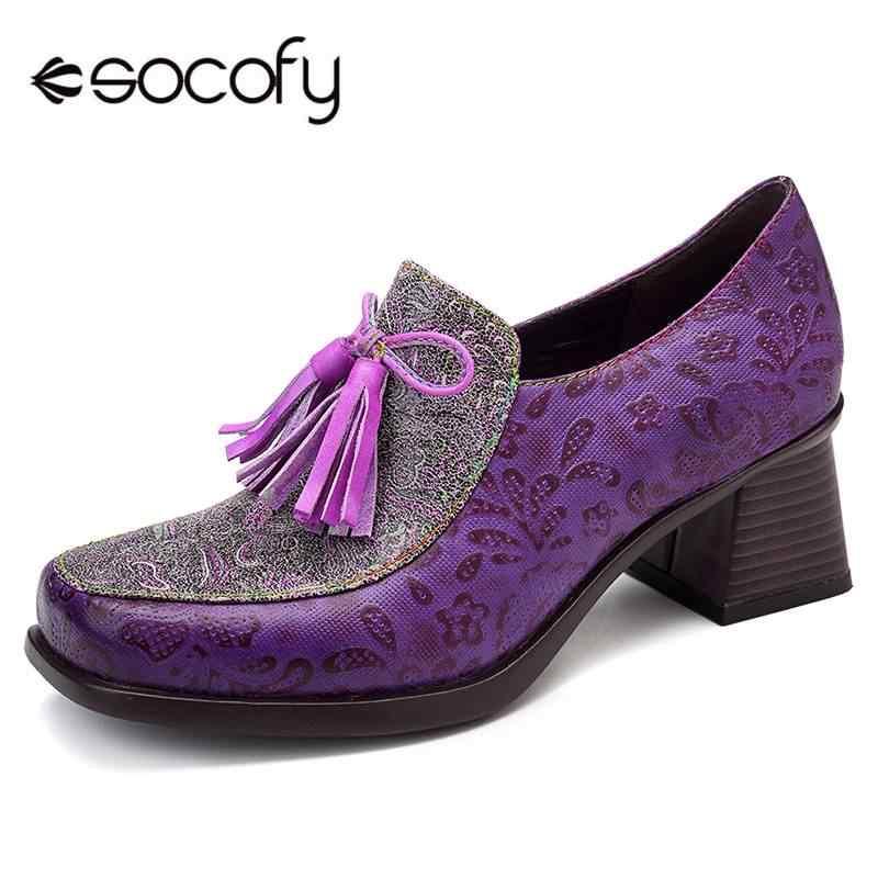 SOCOFY Vintage Folkways Saçak Ekleme Fermuar Rahat Pompalar Hakiki Deri Zarif Bayan Ayakkabı Bayan Pompaları Bahar parti ayakkabıları
