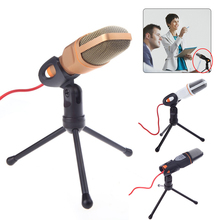 Condenser 3.5mm Audio Wired Microphone SF-666 Sound Podcast Studio Microphone With Holder Stand Clip For PC Chatting Karaoke sf 922b usb condenser sound microphone