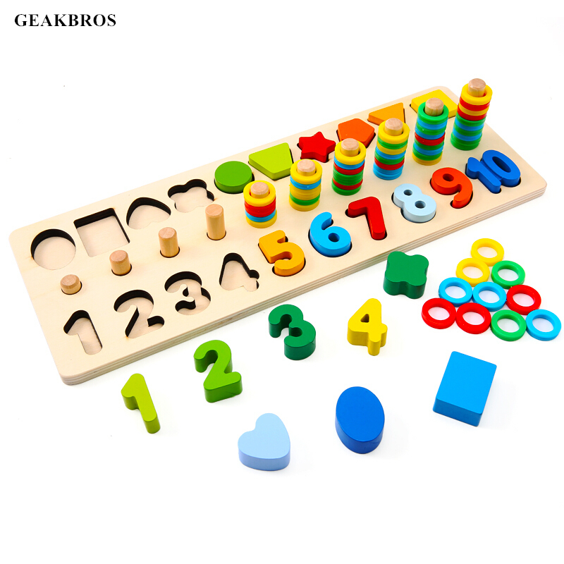 Digital Shape Pairing Montessori Math Toys Preschool Learning Counting Board