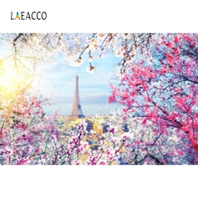 Laeacco  Flowers Balcony Eiffel Tower Paris Painting Photography Backgrounds Customized Photographic Backdrops For Photo Studio
