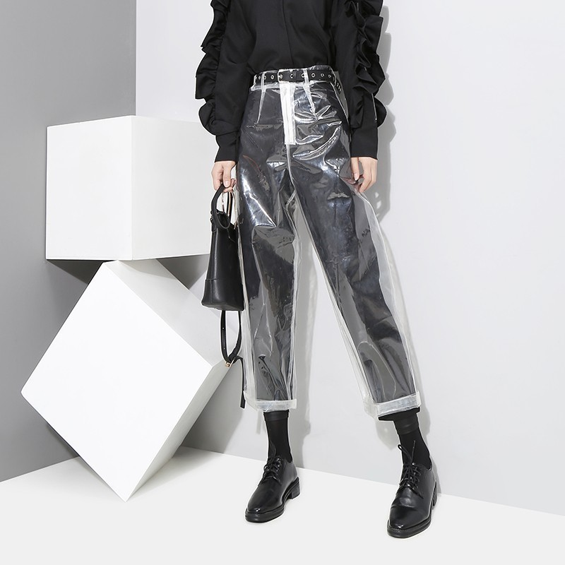 Summer Korean Style Transparent Plastic Pants Woman Ankle-length Pants Trendy Sexy Costumes Club Night Bar PVC Trousers A9161