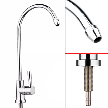 1pc New Drinking Water Faucet 1/4 360 Degree Chrome Osmosis Drinking RO Water Filter Faucet Finish Reverse Sink ro 7 filter new line
