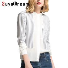 Women SILK Blouse 100%Real silk Long sleeved Striped Print casual Blouses Single Pocket Office
