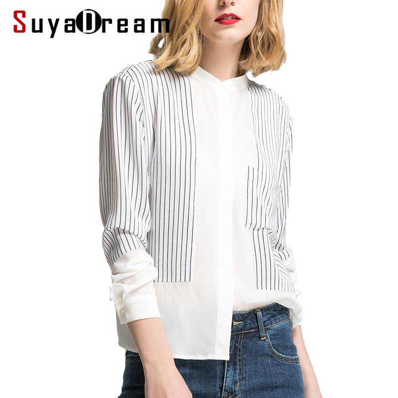 Women SILK Blouse 100%Real Silk Long Sleeved Striped Print Casual Blouses Single Pocket Office Lady Shirt 2018 Spring