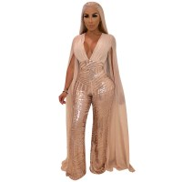Women Cape Split Extra Long Sleeve Sequin Jumpsuit Skinny Elegant Deep V Neck Sexy Slim Romper Night Club Party Overall