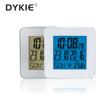 DYKIE Global Radio Controlled Alarm  Clock with Indoor Thermometer Time Snooze Optional Language Digital Weather Stations