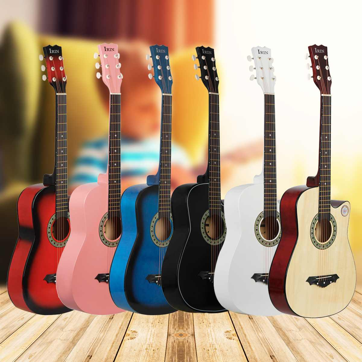 IRIN 6 Color 38 Inch Guitar Acoustic Guitar Beginners Getting Started Practicing Guitar Stringed Instruments Guitar For MusicalIRIN 6 Color 38 Inch Guitar Acoustic Guitar Beginners Getting Started Practicing Guitar Stringed Instruments Guitar For Musical