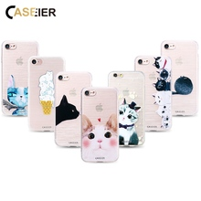 CASEIER Cute Phone Case For iPhone 7 8 Plus X 3D Relief Soft TPU Silicone Cover 6 6s 5s Patterned funda Capinha
