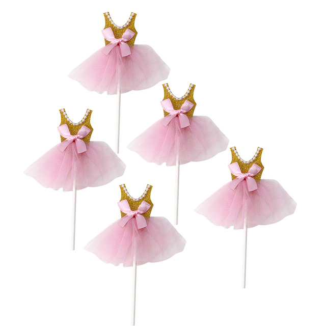 0c9a8db4d803 5Pcs Glitter Princess Tutus Dress Cake Toppers Ballerina Skirt ...