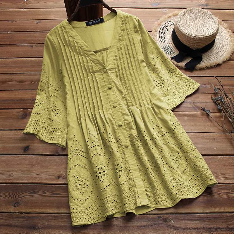 2019 Summer Women Cotton Linen Blouse Elegant Embroidery Hollow Blusas Female V Neck Button Shirts Pleated Tunic Top Plus Size