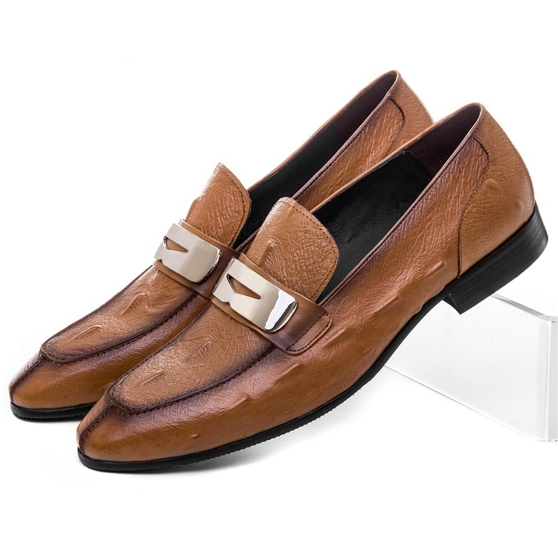 Fashion Brown  Black Summer Loafers Shoes Mens Dress Shoes Genuine Leather Causal Business Shoes Male Wedding Groom Shoes