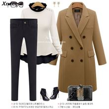 Autumn Winter Suit Blazer Women 2018 Formal Wool Blends Jacket Coat Work Office Lady Long Sleeve suits &blazer Plus Size 4XL 5XL